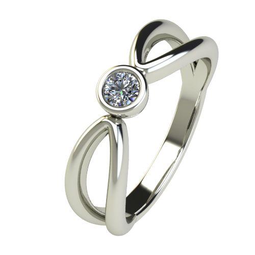 Годежен Пръстен бяло злато с диамант Wings 0,12 ct. 2749